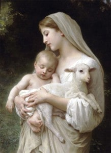 Mother with child and lamb